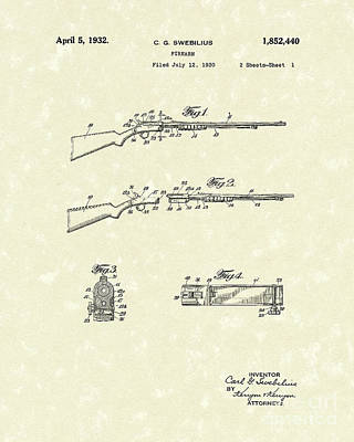 Drawing - Rifle 1932 Patent Art by Prior Art Design