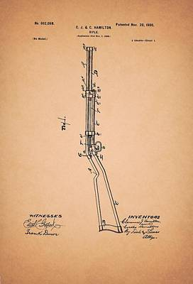 Authority Drawing - Rifle Patent 1900 by Mountain Dreams