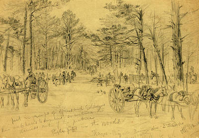 Chinese American Drawing - Rifle Pits In The Woods, 1863 July 1-3, Drawing On Tan by Quint Lox