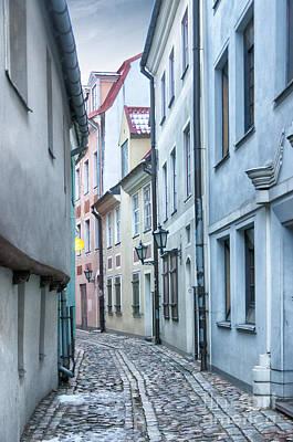 Color Block Photograph - Riga Narrow Street by Antony McAulay