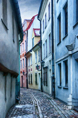 Color Block Painting - Riga Narrow Street Painting by Antony McAulay