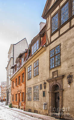 Color Block Photograph - Riga Old Narrow Street by Antony McAulay