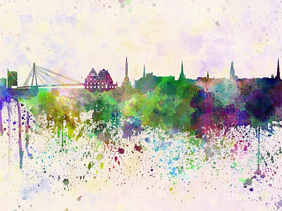 Colorful Art Digital Art - Riga Skyline In Watercolor Background by Pablo Romero