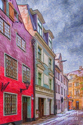 Color Block Photograph - Riga Street Painting by Antony McAulay
