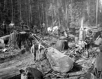 Rigging Block And Tackle Logging C. 1890 Art Print by Daniel Hagerman