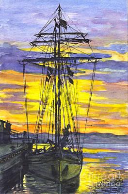 Rigging In The Sunset Print by Carol Wisniewski