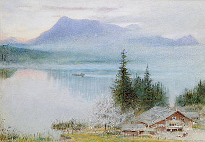 Lake Drawing - Righi by Albert Goodwin