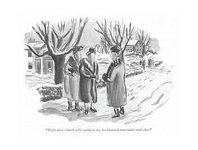 Snowfall Drawing - Right After Church We're Going To Try Hot by Helen E. Hokinson