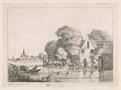 Angling Drawing - Right For A House, A Man Sits On A Pier Angling And A Woman by Artokoloro