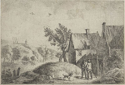 Right Two Houses In A Landscape, Two Men And A Dog Art Print