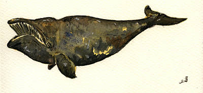 Right Whale Art Print by Juan  Bosco