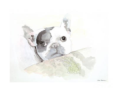 French Bull Dog Painting - Rigley by Joan Sharron