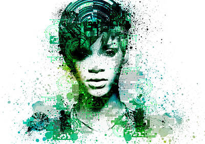 Abstract Digital Painting - Rihanna 5 by Bekim Art