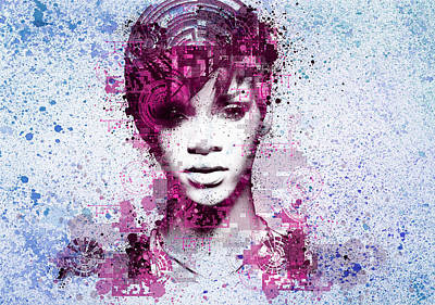 Abstract Digital Painting - Rihanna 8 by Bekim Art