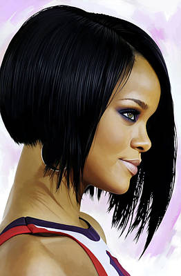 Rihanna Mixed Media - Rihanna Artwork by Sheraz A