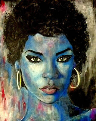 Rihanna Painting - Blue Lady by Christopher Brown