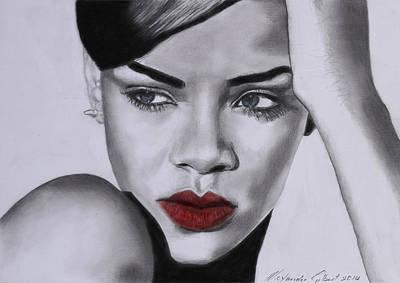 Rihanna Drawing - Rihanna - Individual Red by Alexander Gilbert