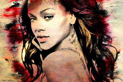 Famous Women Painting - Rihanna by Mark Ashkenazi