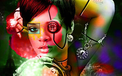 Music Digital Art - Rihanna Over Rihanna by Marvin Blaine