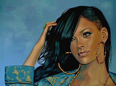 Rihanna Painting Print by Paul Meijering