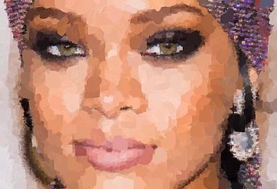 Painting - Rihanna Portrait by Samuel Majcen