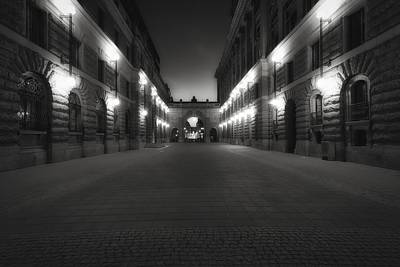 Photograph - Riksgatan In Summer Twilight Black And White - Stockholm - Sweden by Photography  By Sai
