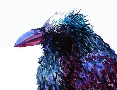 Wall Art - Painting - Riled Raven by Karen Mattson