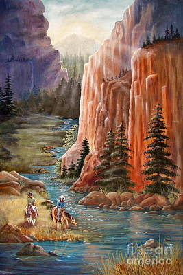 Sun Rays Painting - Rim Canyon Ride by Marilyn Smith