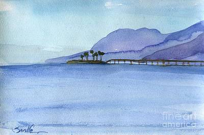 Ocean Painting - Rincon Island Ventura County by Sandra Stone