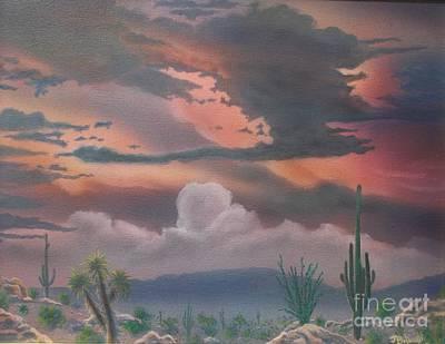 Rincon Mountains Wall Art - Painting - Rincon Mountains Twilight  by Jerry Bokowski