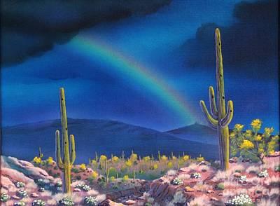 Rincon Mountains Wall Art - Painting - Rincon Peak Rainbow by Jerry Bokowski
