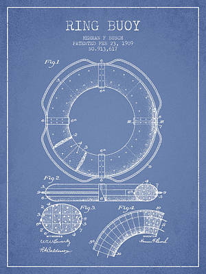 Lifebelt Drawing - Ring Buoy Patent From 1909 - Light Blue by Aged Pixel