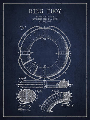 Lifebelt Drawing - Ring Buoy Patent From 1909 - Navy Blue by Aged Pixel