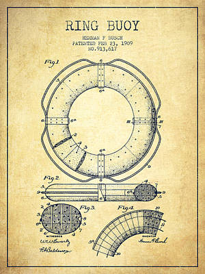Lifebelt Drawing - Ring Buoy Patent From 1909 - Vintage by Aged Pixel