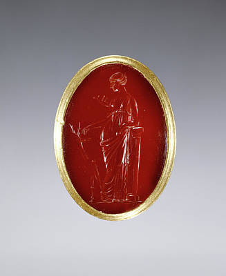 Carnelian Drawing - Ring Inset With Intaglio Representing Artemis Unknown Egypt by Litz Collection