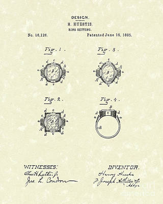 Drawing - Ring Setting 1885 Patent Art by Prior Art Design