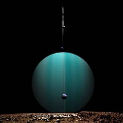 Deep Space Art Mixed Media - Ringed World No.4 by Marc Ward