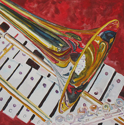 Trombone Painting - Ringing In The Brass by Jenny Armitage