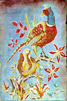 Painting - Ringneck Pheasants by Gail Daley