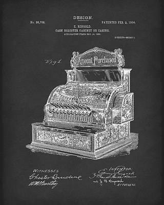 Cash Register Drawing - Ringold Cash Register 1904 Patent Art Black by Prior Art Design
