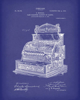 Cash Register Drawing - Ringold Cash Register 1904 Patent Art Blue by Prior Art Design