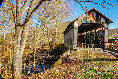 Photograph - Ringos Mill Covered Bridge by Mary Carol Story