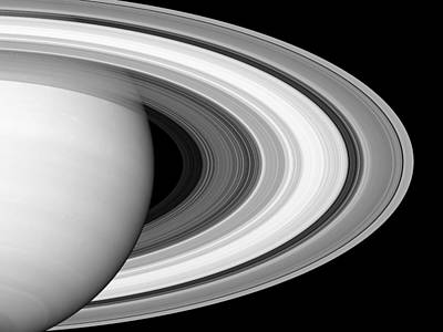 Digital Art - Rings Of Saturn - Black And White Monochrome by Ram Vasudev