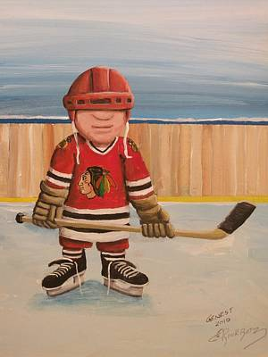 Pond Hockey Painting - Rinkrattz- Chicago  by Ron  Genest