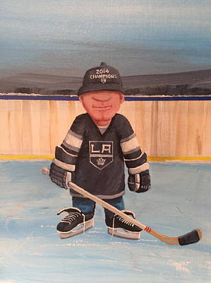 Minor Hockey Painting - Rinkrattz - La Kings by Ron  Genest