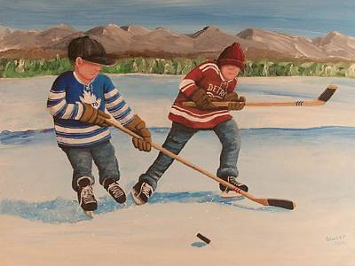 Minor Hockey Painting - Rinkrattz - Winter Classic 2014 by Ron  Genest