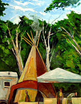 Ohio Painting - Running Black Bear's Tipi by Charlie Spear
