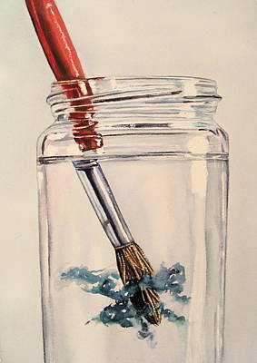 Water Jars Painting - Rinsing Brush Watercolour Art by Lillian  Bell