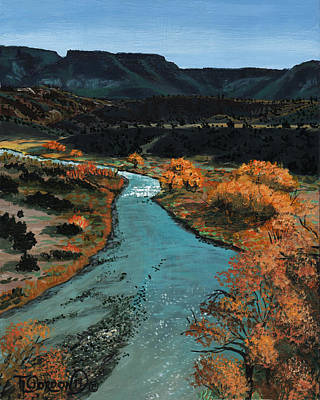 Cottonwood Painting - Rio Chama River by Timithy L Gordon