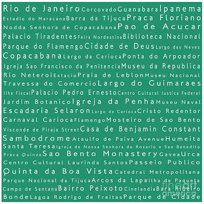 Rio De Janeiro In Words Algae Art Print by Sabine Jacobs